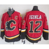 Flames #12 Jarome Iginla RedBlack CCM Throwback Stitched NHL Jersey