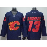 Flames #13 Johnny Gaudreau Navy Blue Denim Stitched NHL Jersey