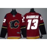Flames #13 Johnny Gaudreau Red Reflective Version Stitched NHL Jersey