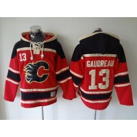 Flames #13 Johnny Gaudreau Red Sawyer Hooded Sweatshirt Stitched NHL Jersey