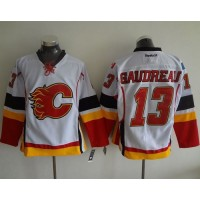 Flames #13 Johnny Gaudreau White Stitched NHL Jersey