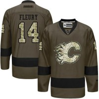 Flames #14 Theoren Fleury Green Salute to Service Stitched NHL Jersey