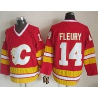 Flames #14 Theoren Fleury Red CCM Throwback Stitched NHL Jersey