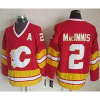Flames #2 Al MacInnis Red CCM Throwback Stitched NHL Jersey
