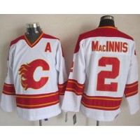 Flames #2 Al MacInnis White CCM Throwback Stitched NHL Jersey