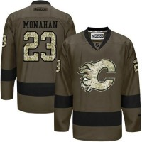 Flames #23 Sean Monahan Green Salute to Service Stitched NHL Jersey