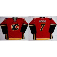 Flames #7 TJ Brodie Red Home Stitched NHL Jersey
