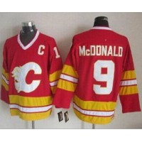 Flames #9 Lanny McDonald Red CCM Throwback Stitched NHL Jersey