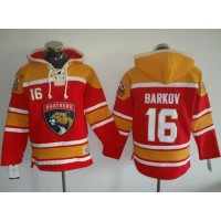 Florida Panthers #16 Aleksander Barkov Red Gold Sawyer Hooded Sweatshirt Stitched NHL Jersey