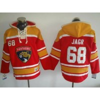 Florida Panthers #68 Jaromir Jagr Red Gold Sawyer Hooded Sweatshirt Stitched NHL Jersey