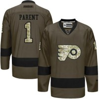 Flyers #1 Bernie Parent Green Salute to Service Stitched NHL Jersey