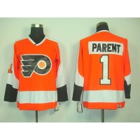 Flyers #1 Bernie Parent Orange CCM Throwback Stitched NHL Jersey