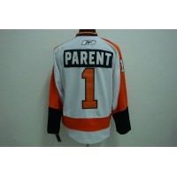 Flyers #1 Bernie Parent Stitched Winter Classic White NHL Jersey
