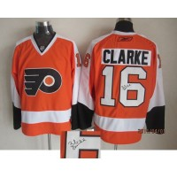 Flyers #16 Bobby Clarke Orange Autographed Stitched NHL Jersey