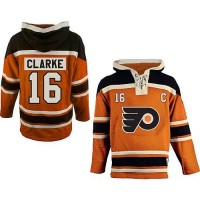 Flyers #16 Bobby Clarke Orange Sawyer Hooded Sweatshirt Stitched NHL Jersey