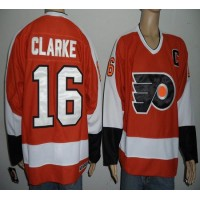 Flyers #16 Bobby Clarke Orange Stitched NHL Jersey