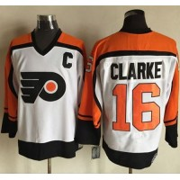 Flyers #16 Bobby Clarke WhiteBlack CCM Throwback Stitched NHL Jersey