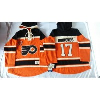Flyers #17 Wayne Simmonds Orange Sawyer Hooded Sweatshirt Stitched NHL Jersey