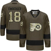 Flyers #18 R. J. Umberger Green Salute to Service Stitched NHL Jersey
