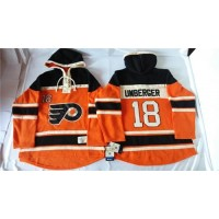 Flyers #18 R. J. Umberger Orange Sawyer Hooded Sweatshirt Stitched NHL Jersey