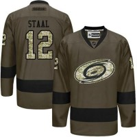 Hurricanes #12 Eric Staal Green Salute to Service Stitched NHL Jersey