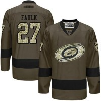 Hurricanes #27 Justin Faulk Green Salute to Service Stitched NHL Jersey