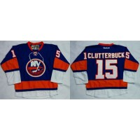 Islanders #15 Cal Clutterbuck Baby Blue Home Stitched NHL Jersey