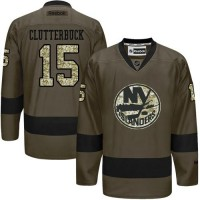 Islanders #15 Cal Clutterbuck Green Salute to Service Stitched NHL Jersey
