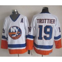 Islanders #19 Bryan Trottier White CCM Throwback Stitched NHL Jersey