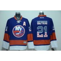 Islanders #21 Kyle Okposo Baby Blue USA Flag Fashion Stitched NHL Jersey