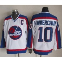 Jets #10 Dale Hawerchuk WhiteBlue CCM Throwback Stitched NHL Jersey