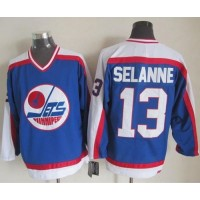 Jets #13 Teemu Selanne BlueWhite CCM Throwback Stitched NHL Jersey