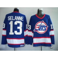 Jets #13 Teemu Selanne Stitched Blue CCM Throwback NHL Jersey