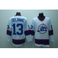 Jets #13 Teemu Selanne Stitched White CCM Throwback NHL Jersey