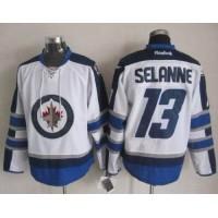 Jets #13 Teemu Selanne White 2011 Style Stitched NHL Jersey