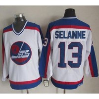 Jets #13 Teemu Selanne WhiteBlue CCM Throwback Stitched NHL Jersey