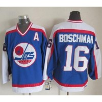Jets #16 Laurie Boschman BlueWhite CCM Throwback Stitched NHL Jersey