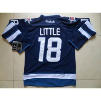 Jets #18 Bryan Little Dark Blue Stitched NHL Jersey