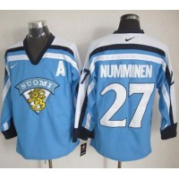 Jets #27 Teppo Numminen Light Blue Nike Throwback Stitched NHL Jersey
