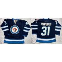 Jets #31 Ondrej Pavelec Dark Blue Stitched NHL Jersey