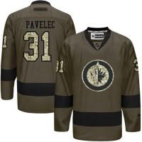 Jets #31 Ondrej Pavelec Green Salute to Service Stitched NHL Jersey