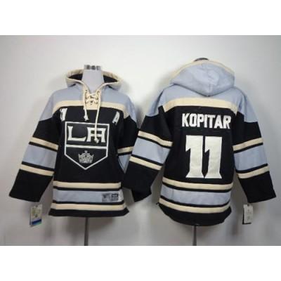 Kings #11 Anze Kopitar Black Sawyer Hooded Sweatshirt Stitched Youth NHL Jersey