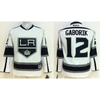 Kings #12 Marian Gaborik White Road Stitched Youth NHL Jersey