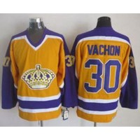 Kings #30 Rogie Vachon Yellow CCM Throwback Stitched NHL Jersey