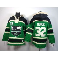 Kings #32 Jonathan Quick Green St. Patrick's Day McNary Lace Hoodie Stitched NHL Jersey