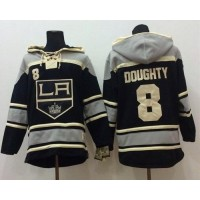 Kings #8 Drew Doughty Black Sawyer Hooded Sweatshirt Stitched NHL Jersey