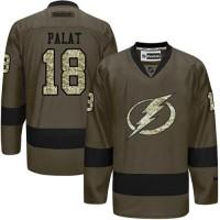 Lightning #18 Ondrej Palat Green Salute to Service Stitched NHL Jersey