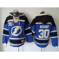 Lightning #30 Ben Bishop Blue Sawyer Hooded Sweatshirt Stitched NHL Jersey