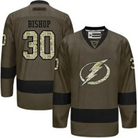 Lightning #30 Ben Bishop Green Salute to Service Stitched NHL Jersey