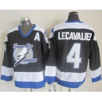Lightning #4 Vincent Lecavalier Black CCM Throwback Stitched NHL Jersey